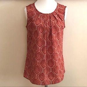 Red Orange Patterned Sleeveless Top M